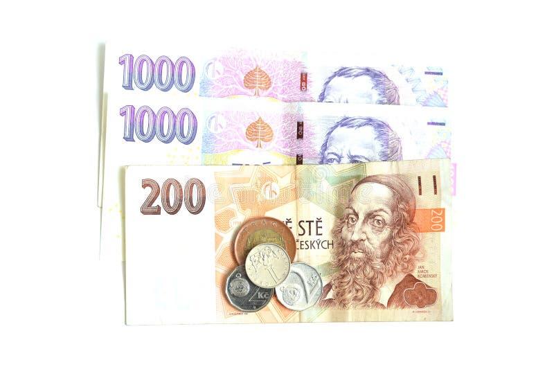 二千,二百和硬币捷克冠 库存图片