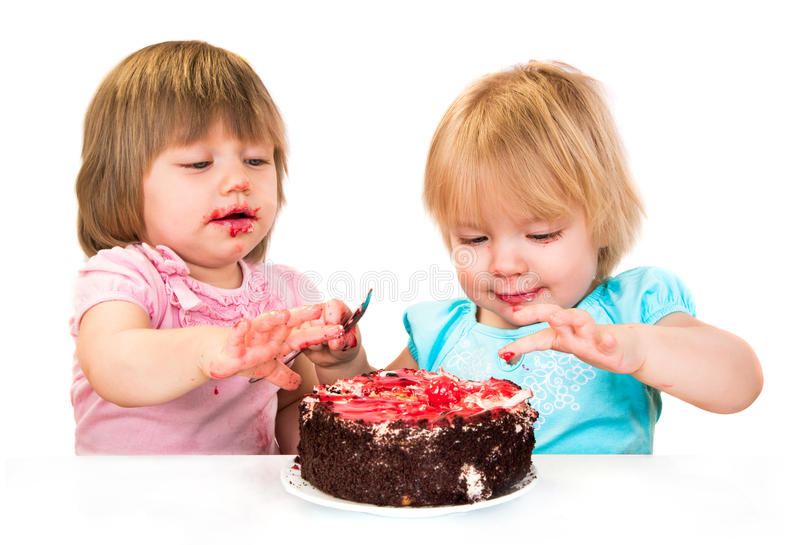 二吃蛋糕的小女婴 图库摄影