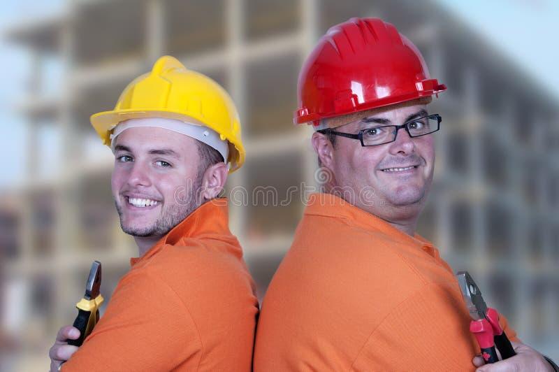 二名建筑工人 库存照片
