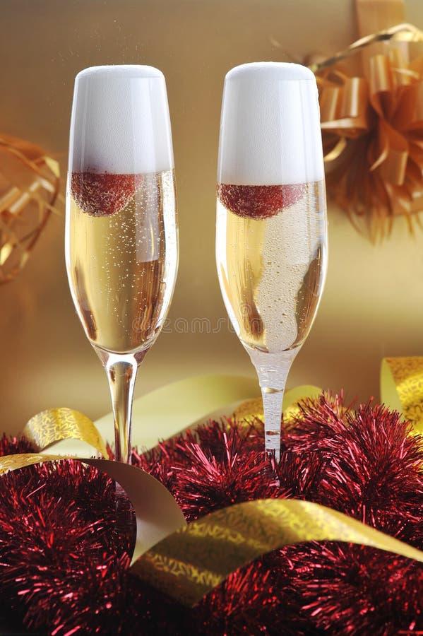 二块玻璃用香槟 免版税图库摄影