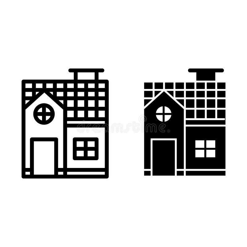 二层楼的房子线和纵的沟纹象 在白色隔绝的小村庄传染媒介例证 建筑学概述样式 向量例证