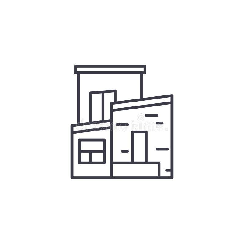二层楼的房子线性象概念 二层楼的房子线传染媒介标志,标志,例证 库存例证