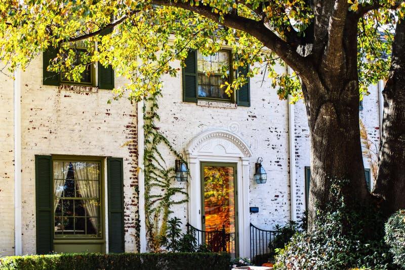 二层的高级白色有秋天的反射的被绘的砖房子细节在前门-在前面的大树离开与太阳 免版税库存图片