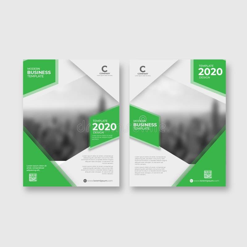 二折叠小册子绿色抽象模板 库存例证