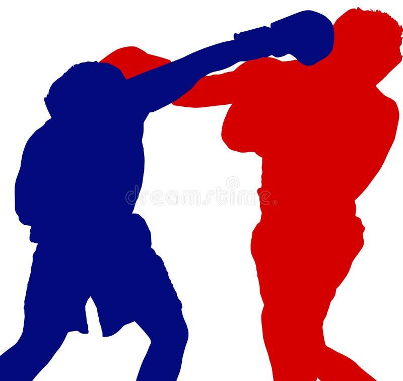 二拳击手影子 库存例证