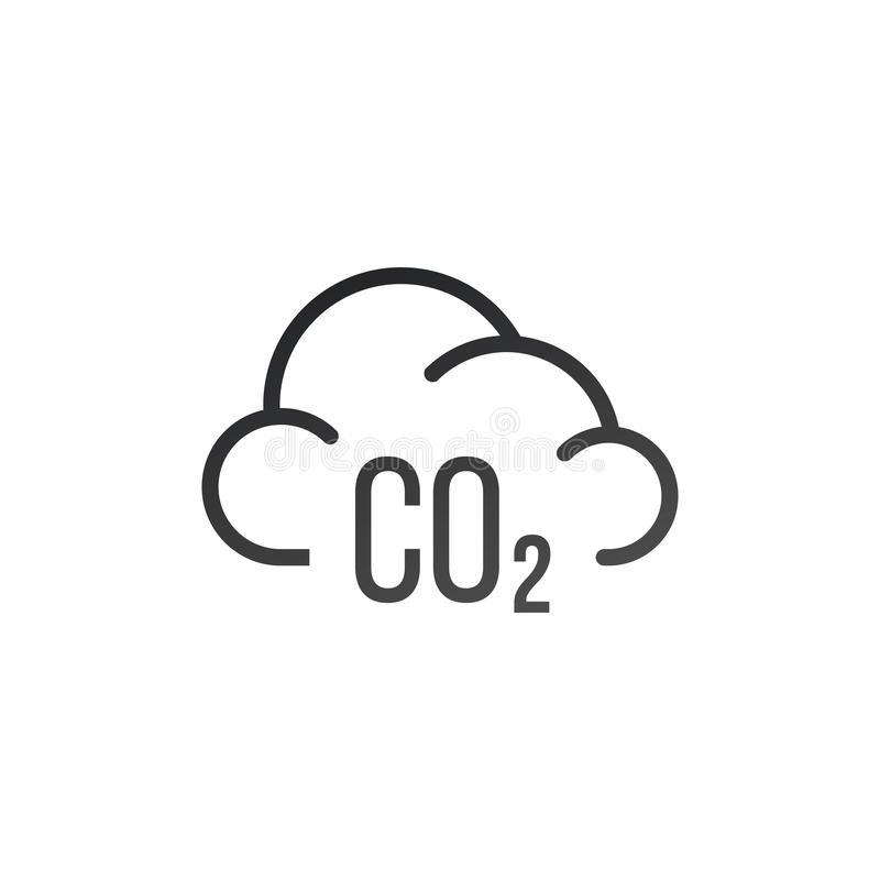 二氧化碳污染标志 在空白背景查出的向量例证 向量例证