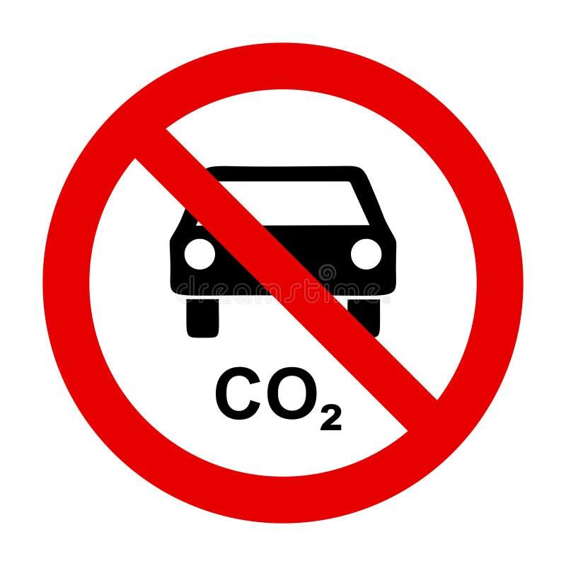 二氧化碳汽车和禁止标志 向量例证
