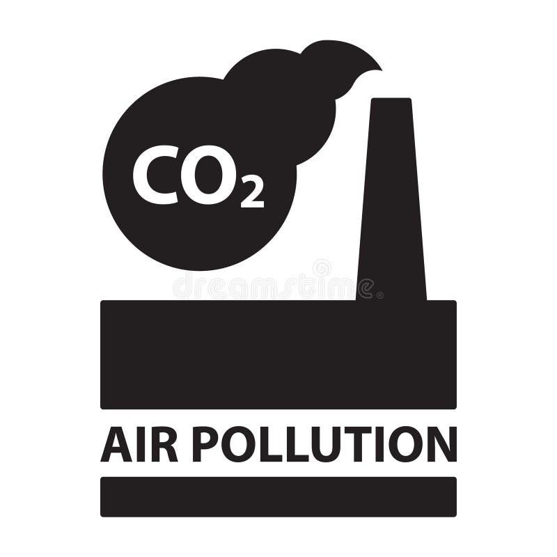 二氧化碳空气污染植物生态学概念隔绝了黑silhouett 库存例证