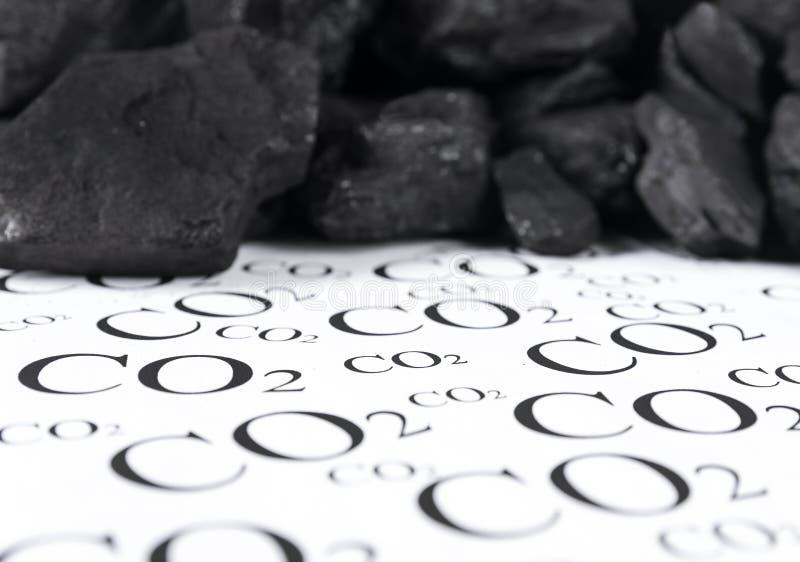 二氧化碳,二氧化碳煤炭放射的概念  免版税库存照片
