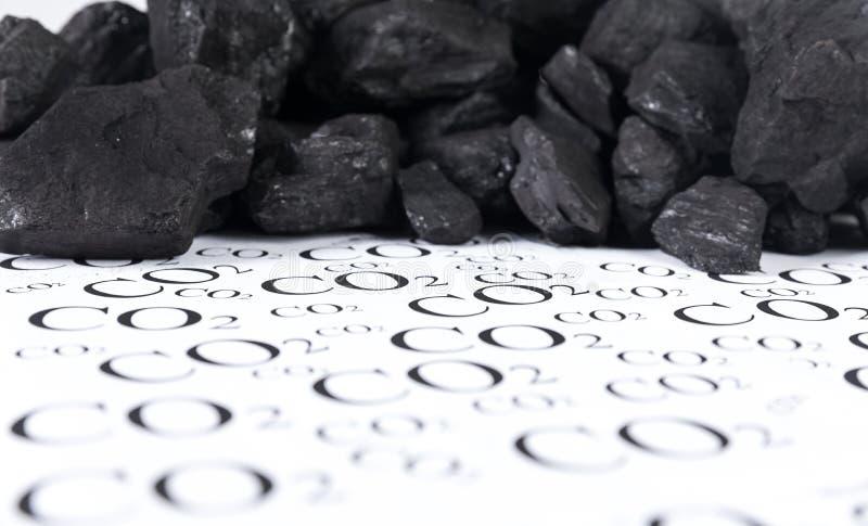 二氧化碳,二氧化碳煤炭放射的概念  图库摄影