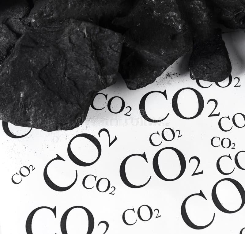 二氧化碳,二氧化碳煤炭放射的概念  免版税图库摄影