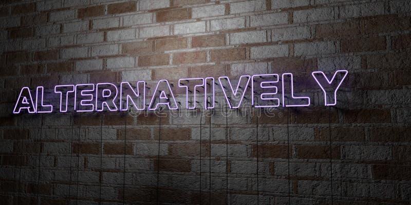 二者择一地-在石制品墙壁上的发光的霓虹灯广告- 3D回报了皇族自由储蓄例证 向量例证