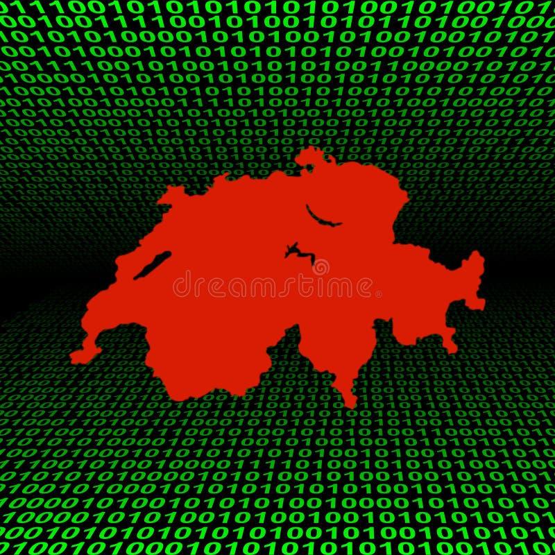二进制代码映射瑞士 库存例证