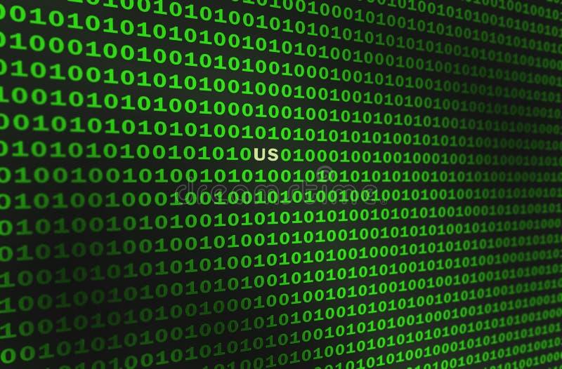 二进制代码绿色 域名美国 向量例证