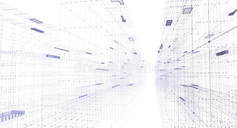二进制城市数字式晚上隧道 向量例证