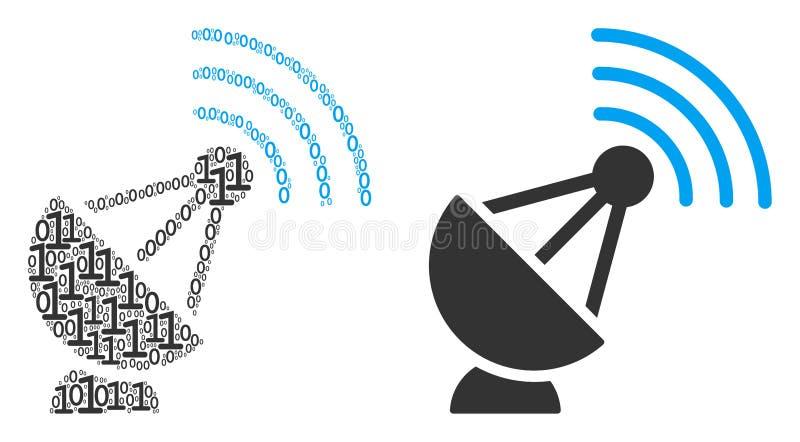 二进制数字无线电广播发射机马赛克  向量例证