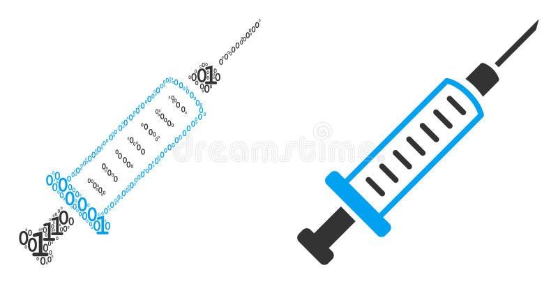 二进制数字注射器拼贴画  皇族释放例证