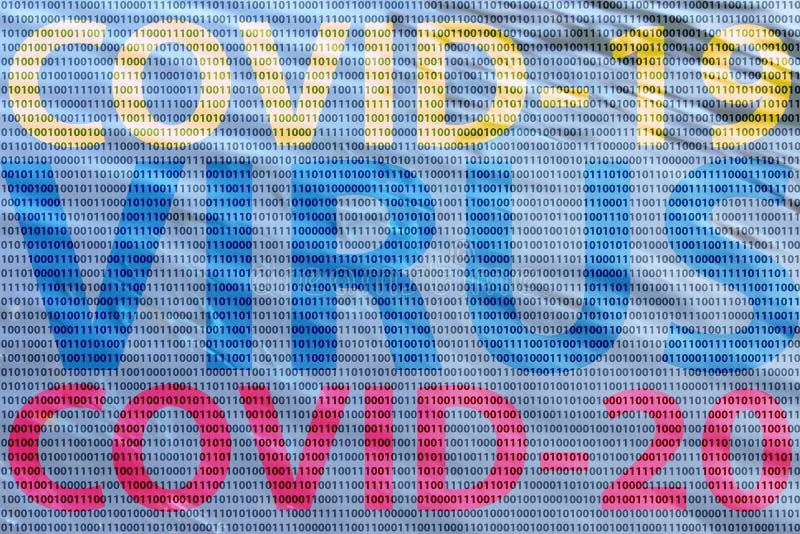 二进制概念中的Covid病毒 库存照片