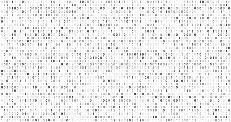二进制矩阵代码 计算机数据流、数字安全代码和灰色编码的信息抽象传染媒介背景 向量例证