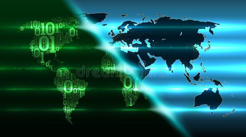 二进制编码世界地图有抽象硬件背景  数字全球性技术接管世界 云彩服务 皇族释放例证