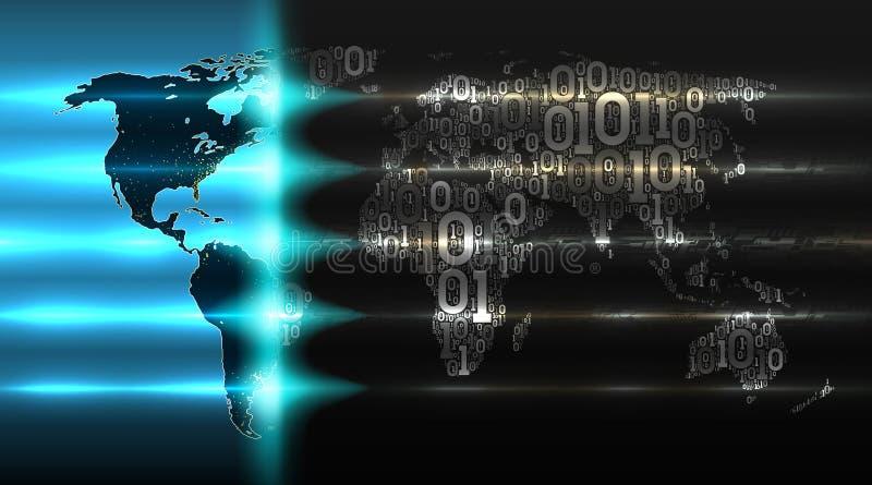 二进制编码世界地图有抽象硬件背景  数字技术,云彩服务,事互联网的概念  皇族释放例证