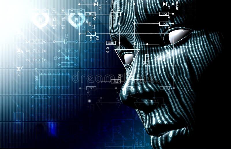 二进制编码和面孔 库存例证