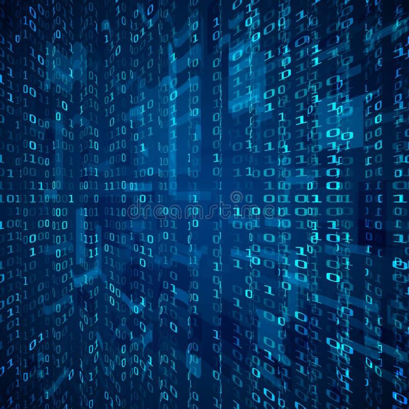 二进制编码小河 抽象数字式二进制矩阵数字技术未来派概念背景 向量 库存例证