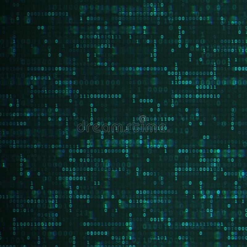 二进制编码深蓝背景 编码编程一些的老纸张 黑暗的净概念 数字网技术 库存例证