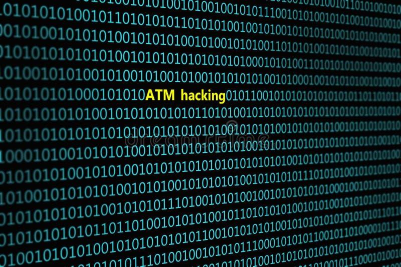 二进制编码特写镜头,与题字` ATM乱砍` 库存照片