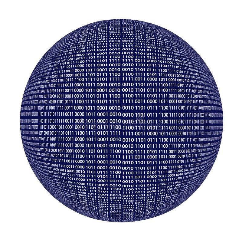 二进制编码球形被隔绝在白色 向量例证