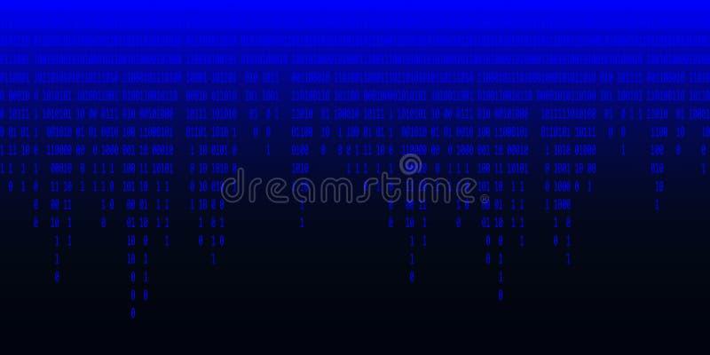 二进制编码落的蓝色背景 向量例证