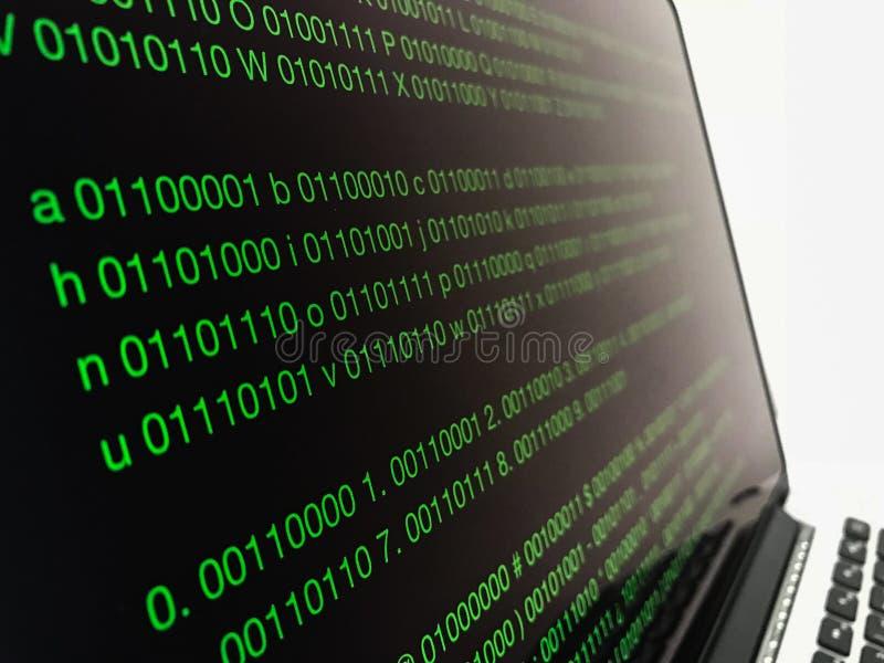 二进制编码软件开发 写编程的代码在膝上型计算机 免版税图库摄影