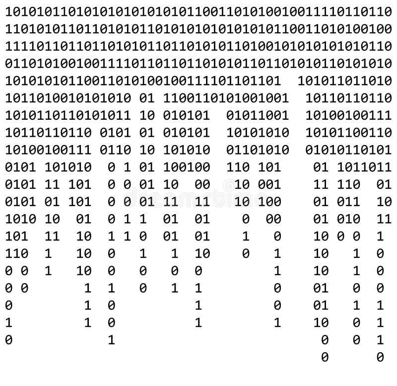 二进制编码零一矩阵白色背景美丽的横幅wa 库存例证