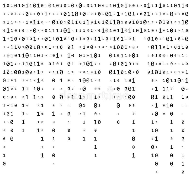 二进制编码零一矩阵白色背景美丽的横幅wa 向量例证