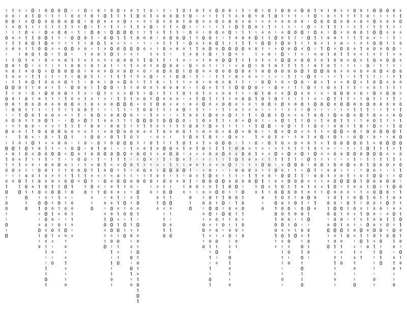 二进制编码零一矩阵白色背景美丽的横幅wa 皇族释放例证