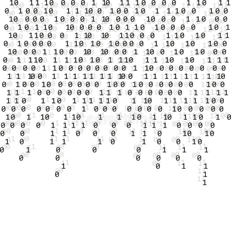 二进制编码零一矩阵白色背景 横幅,样式,墙纸 也corel凹道例证向量 库存例证