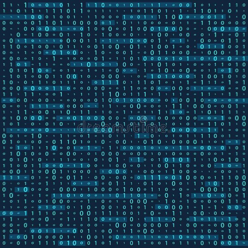 二进制编码零一矩阵白色背景 横幅,样式,墙纸 也corel凹道例证向量 皇族释放例证
