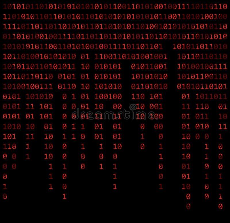 二进制编码零一矩阵红色背景美丽的横幅墙壁 向量例证