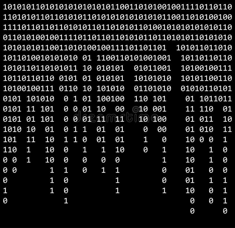 二进制编码零一矩阵黑背景美丽的横幅wa 向量例证