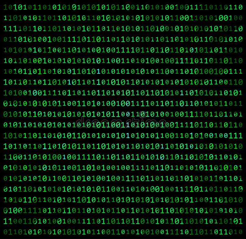 二进制编码零一矩阵绿色背景美丽的横幅wa 皇族释放例证