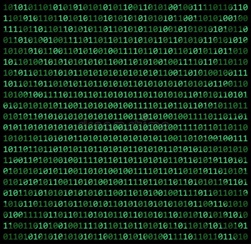 二进制编码零一矩阵绿色背景美丽的横幅wa 向量例证
