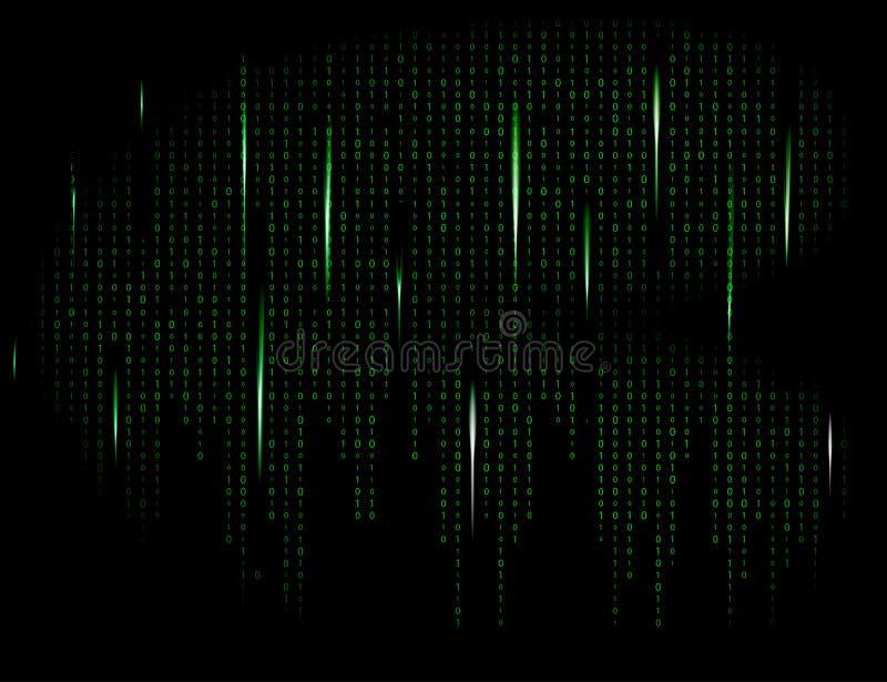 二进制编码零一矩阵绿色背景美丽的横幅wa 库存例证