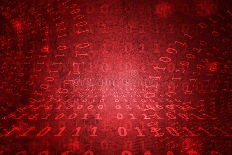 二进制编码,卑鄙密码,在难看的东西红色混凝土墙摘要背景 免版税图库摄影