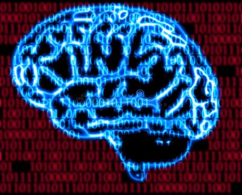 二进制脑子编码人 皇族释放例证