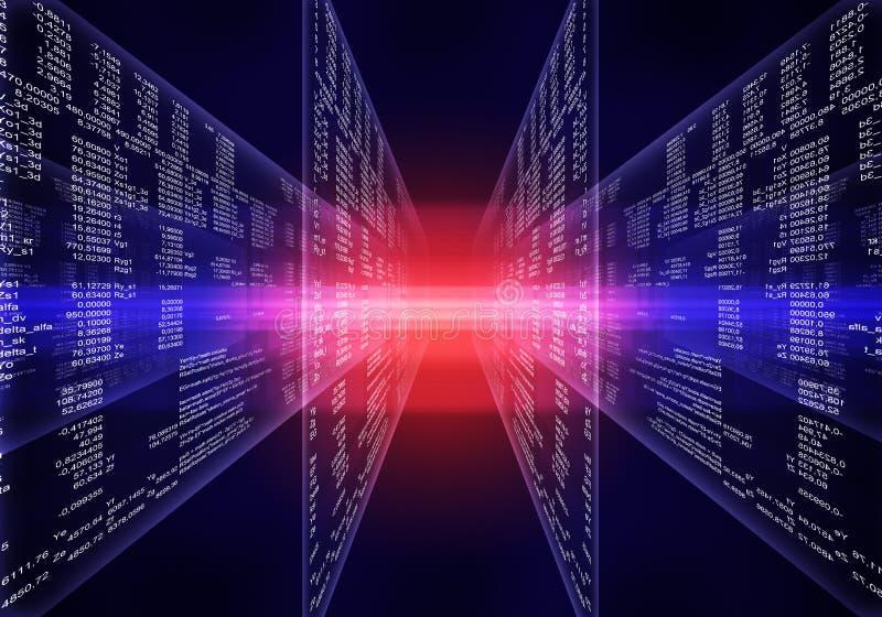 二进制蓝色和红色计算机编码 库存例证