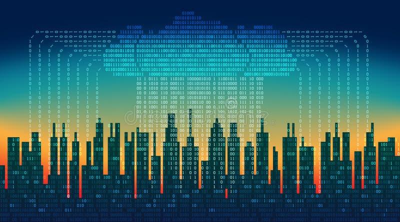 二进制雨在数字式抽象城市,数据,高科技背景流程与云彩的 库存例证