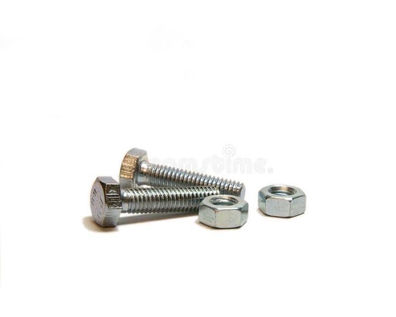 二nead螺栓和二螺丝螺母 免版税库存照片
