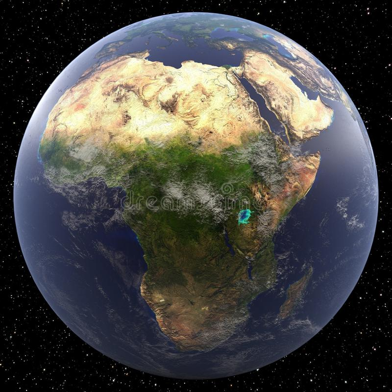 于非洲集中的地球 向量例证