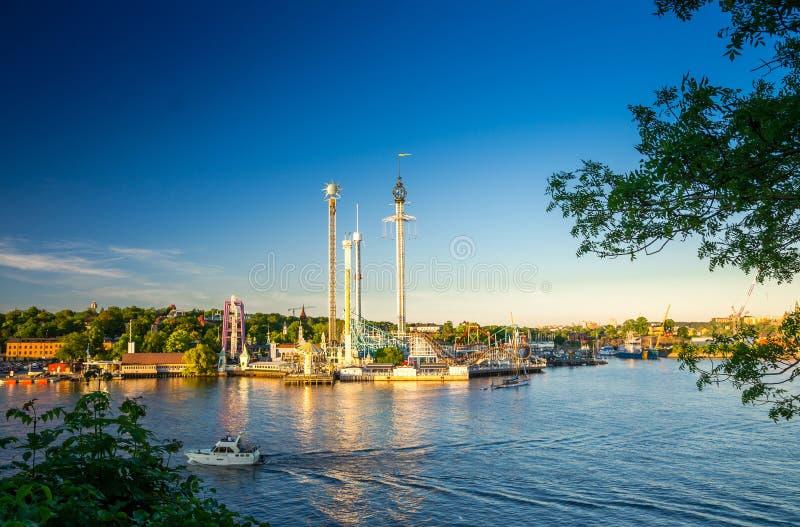 于高登海岛和蒂沃利转盘吸引力,斯德哥尔摩,Sw 免版税库存照片