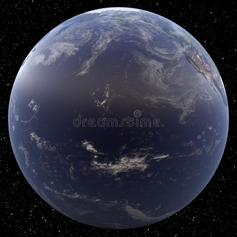于Hawai集中的地球从空间观看了 皇族释放例证